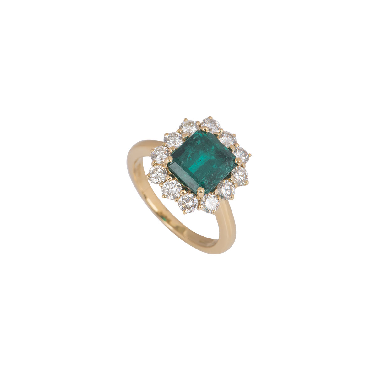 Yellow Gold Colombian Emerald And Diamond Ring